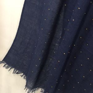 Long rectangular navy scarf with tiny gold studs